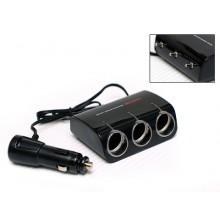 Wine USB & Triple Socket With Led - Разветвитель прикуривателя на 3 гнезда с выключателями + USB