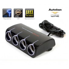 Wine USB & Four Way Switch Socket With Led - Разветвитель прикуривателя на 4 гнезда с выключателями + USB
