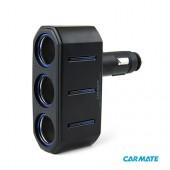 Carmate 3 Way Socket - Разветвитель прикуривателя на 3 гнезда с подсветкой и изменяемым углом наклона