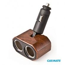 Carmate 2 Way Swing Neck Socket Indeed - Разветвитель прикуривателя на 2 гнезда с изменяемым углом наклона, дерево