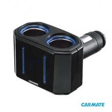 Carmate 2 Way Swing Neck Socket - Разветвитель прикуривателя на 2 гнезда с изменяемым углом наклона, черный
