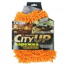 Варежка для мойки и протирки City Up СА-151 микрофибра шиншилла и сетка