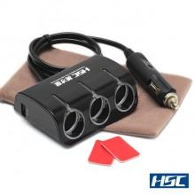 HSC 2 Core 2 USB 3 Socket Adapter - Разветвитель прикуривателя на 3 гнезда с подсветкой + 2 USB, черный