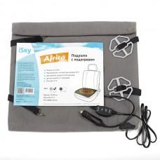 Подушка с подогревом на переднее сиденье iSky Africa, велюр, датчик защиты от перегрева, 40х40 см, 12 V, серая