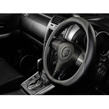 Оплетка на руль iSky с цветными вставками, кожзам, размер М, черно-серая, iSW-02MGR