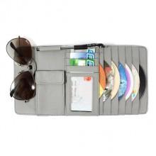 Органайзер - мульти карман на козырек автомобиля (+ для CD-дисков), натуральная кожа, серый