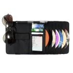 Органайзер - мульти карман на козырек автомобиля (+ для CD-дисков), натуральная кожа, черный