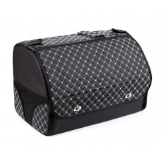 Органайзер в багажник автомобиля Wine, с крышкой, 48х31х33 см, черный с белой стежкой, 40л
