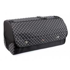 Органайзер в багажник автомобиля Wine, с крышкой, 68х30х32 см, черный с белой стежкой, 56л