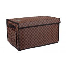 Органайзер в багажник автомобиля закрывающийся складной, 50х30х27 см, коричневый клетчатый, 40л