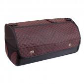 Органайзер в багажник автомобиля Wine, с крышкой, 68х30х32 см, черный с красной стежкой, 56л