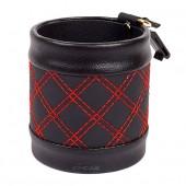 Подвесная корзиночка для телефона и мелочей, круглая, черная с красной строчкой