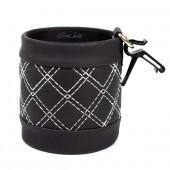Подвесная корзиночка для телефона и мелочей, круглая, черная с белой строчкой
