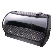 Органайзер в багажник автомобиля Wine, с прозрачной крышкой, 48х31х33 см, черный с белой стежкой, 40л