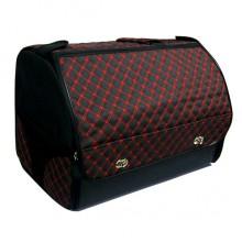 Органайзер в багажник автомобиля Wine, с крышкой, 48х31х33 см, черный с красной стежкой, 40л