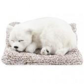 Игрушка спящая собака белая с бамбуковым углем в салон автомобиля