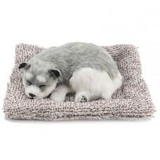 Игрушка спящая собака серая с бамбуковым углем в салон автомобиля