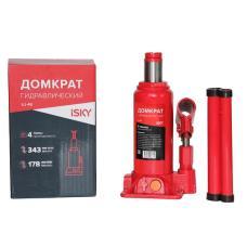 Домкрат бутылочный гидравлический iSky, 4 т, от 178 до 343 мм, в картонной коробке