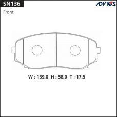 Дисковые тормозные колодки ADVICS SN136